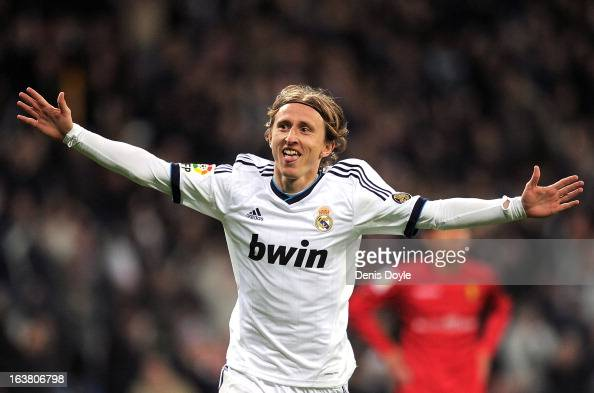 Luka Modric of Real Madrid CF celebrates after scoring Real's 3rd goal during the La Liga match between Real Madrid CF and RCD Mallorca at estadio...