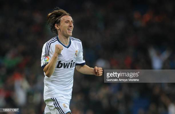 Luka Modric of Real Madrid CF celebrates scoring their fourth goal during the La Liga match between Real Madrid CF and Real Zaragoza at Estadio...