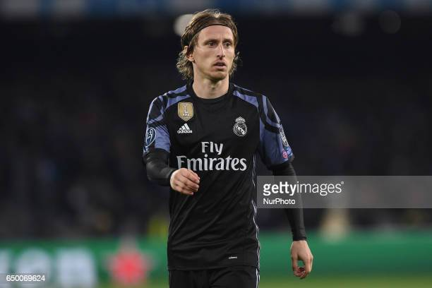 Luka Modric of Real Madrid CF during the UEFA Champions League match between SSC Napoli and Real Madrid at Stadio San Paolo Naples Italy on 7 March...