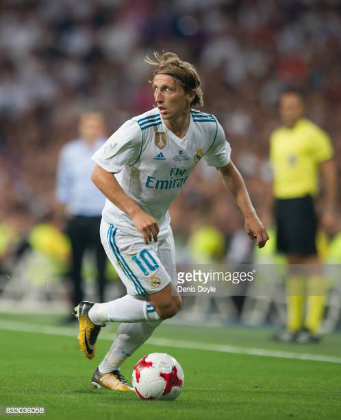 Luka Modric of Real Madrid CF in action during the Supercopa de Espana Final 2nd Leg match between Real Madrid and FC Barcelona at Estadio Santiago...