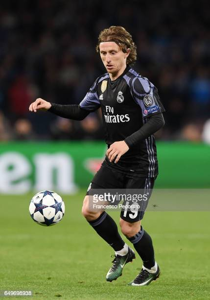 Luka Modric of Real Madrid CF in action during the UEFA Champions League Round of 16 second leg match between SSC Napoli and Real Madrid CF at Stadio...