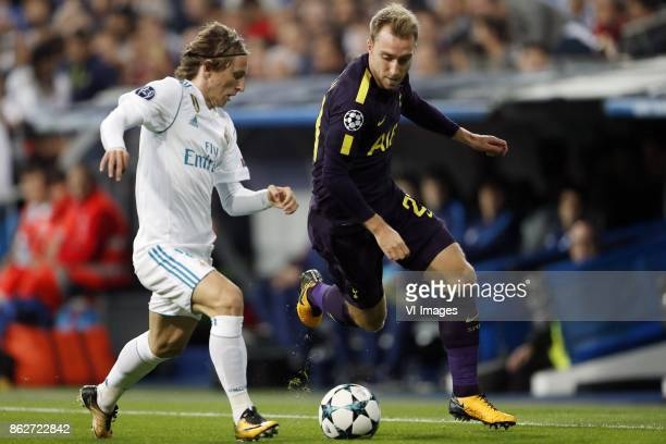Luka Modric of Real Madrid Christian Eriksen of Tottenham Hotspur FC during the UEFA Champions League group H match between Real Madrid and Tottenham...