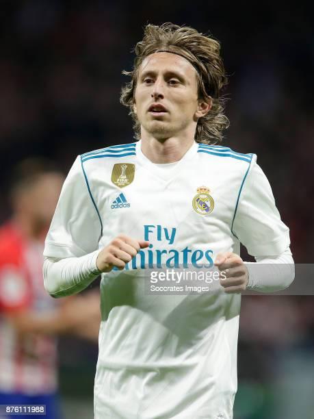 Luka Modric of Real Madrid during the Spanish Primera Division match between Atletico Madrid v Real Madrid at the Estadio Wanda Metropolitano on...