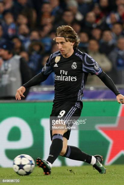 Luka Modric of Real Madrid during the UEFA Champions League Round of 16 second leg match between SSC Napoli and Real Madrid CF at Stadio San Paolo on...