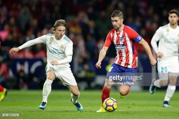 Luka Modric of Real Madrid Gabi of Atletico Madrid during the Spanish Primera Division match between Atletico Madrid v Real Madrid at the Estadio...