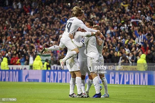 Luka Modric of Real Madrid Gareth Bale of Real Madrid Marcelo of Real Madrid Cristiano Ronaldo of Real Madrid Toni Kroos of Real Madrid during the...