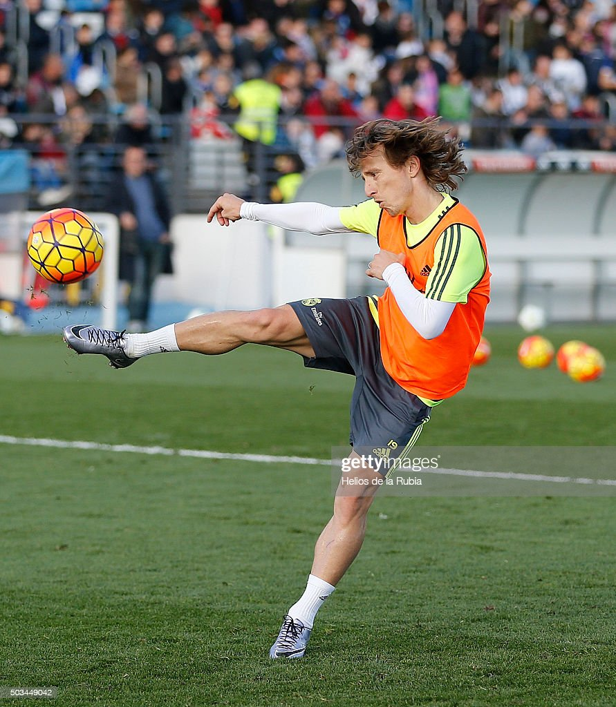 Luka Modric of Real Madrid in action during a Real Madrid training session at Valdebebas training ground on January 5, 2016 in Madrid, Spain.