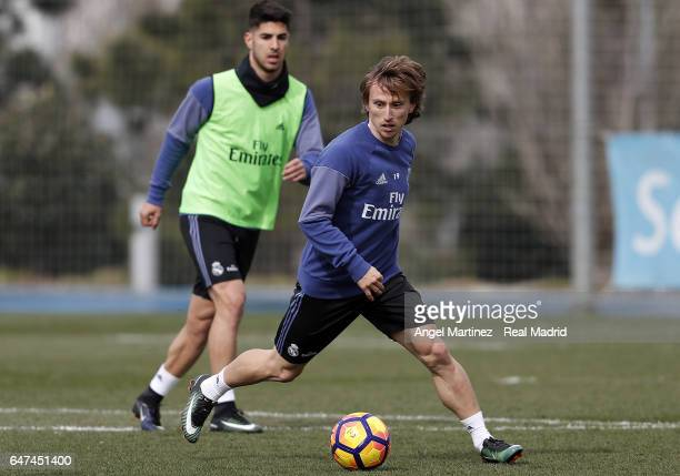 Luka Modric of Real Madrid in action during a training session at Valdebebas training ground on March 3 2017 in Madrid Spain