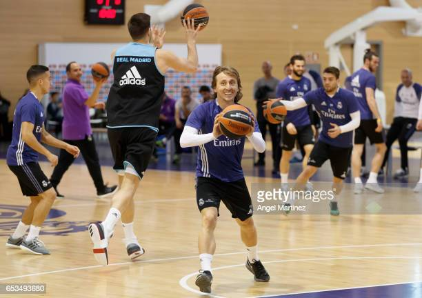 Luka Modric of Real Madrid in action during a training session at Ciudad Real Madrid basketball court on March 14 2017 in Madrid Spain