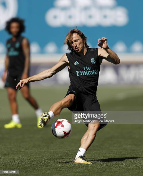 Luka Modric of Real Madrid in action during a training session at Valdebebas training ground on August 12 2017 in Madrid Spain