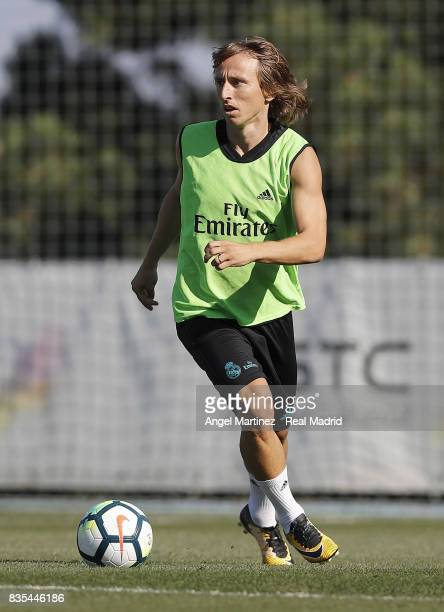 Luka Modric of Real Madrid in action during a training session at Valdebebas training ground on August 19 2017 in Madrid Spain
