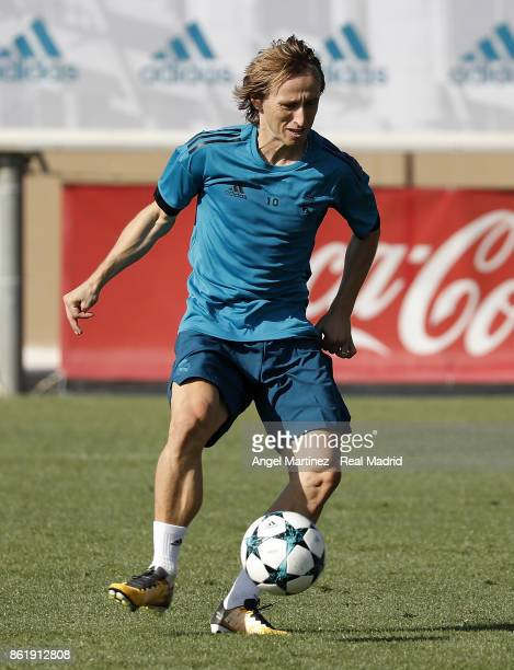 Luka Modric of Real Madrid in action during a training session at Valdebebas training ground on October 16 2017 in Madrid Spain