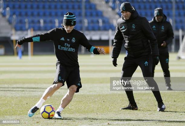 Luka Modric of Real Madrid in action during a training session at Valdebebas training ground on December 1 2017 in Madrid Spain