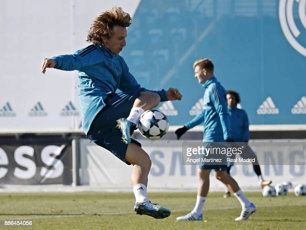 Luka Modric of Real Madrid in action during a training session at Valdebebas training ground on December 5 2017 in Madrid Spain