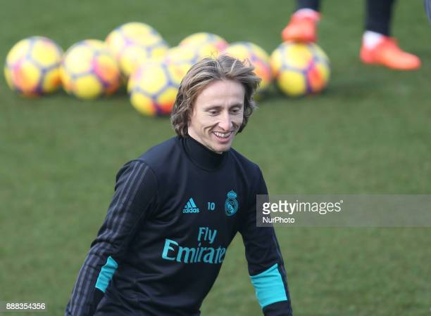 Luka Modric of Real Madrid in action during a training session at Valdebebas training ground on December 8 2017 in Madrid Spain