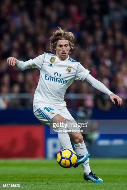 Luka Modric of Real Madrid in action during the La Liga 201718 match between Atletico de Madrid and Real Madrid at Wanda Metropolitano on November 18...
