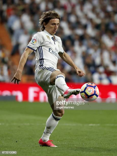Luka Modric of Real Madrid in action during the La Liga match between Real Madrid and FC Barcelona at Estadio Santiago Bernabeu on April 23 2017 in...