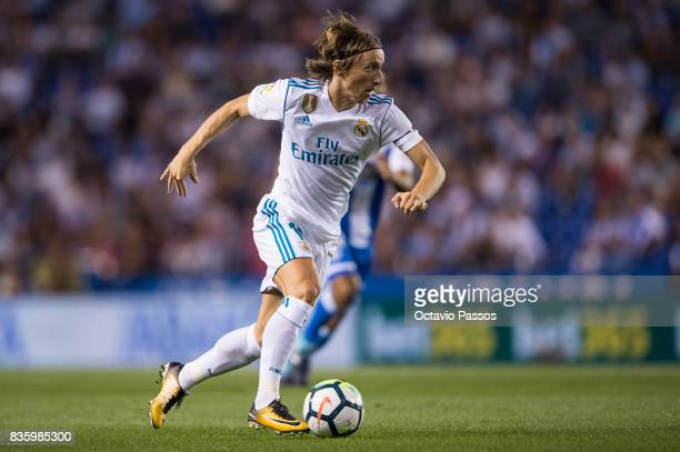 Luka Modric of Real Madrid in action during the La Liga match between Deportivo La Coruna and Real Madrid at Riazor Stadium on August 20 2017 in La...