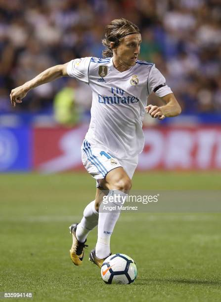 Luka Modric of Real Madrid in action during the La Liga match between Deportivo La Coruna and Real Madrid CF at Riazor Stadium on August 20 2017 in...