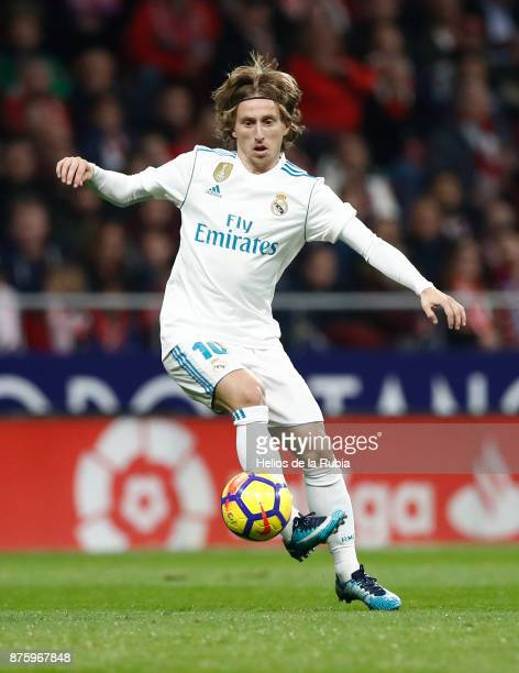 Luka Modric of Real Madrid in action during the La Liga match between Atletico Madrid and Real Madrid at Wanda Metrolitano on November 18 2017 in...