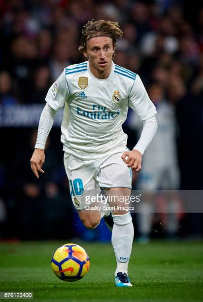 Luka Modric of Real Madrid in action during the La Liga match between Atletico Madrid and Real Madrid at Wanda Metropolitano Stadium on November 18...