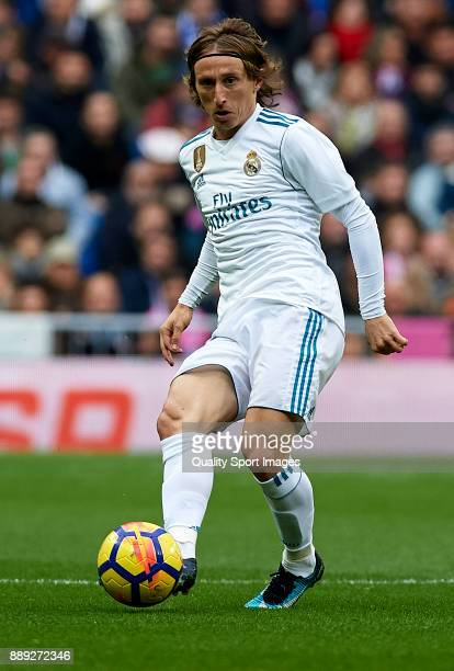 Luka Modric of Real Madrid in action during the La Liga match between Real Madrid and Sevilla at Estadio Santiago Bernabeu on December 9 2017 in...