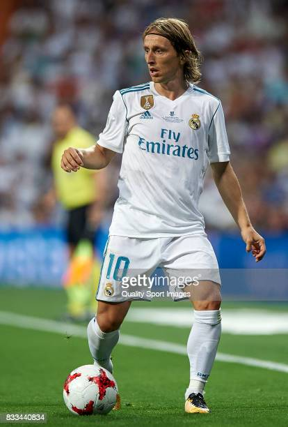 Luka Modric of Real Madrid in action during the Supercopa de Espana Supercopa Final 2nd Leg match between Real Madrid and FC Barcelona at Estadio...
