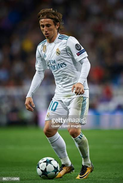 Luka Modric of Real Madrid in action during the UEFA Champions League group H match between Real Madrid and Tottenham Hotspur at Estadio Santiago...