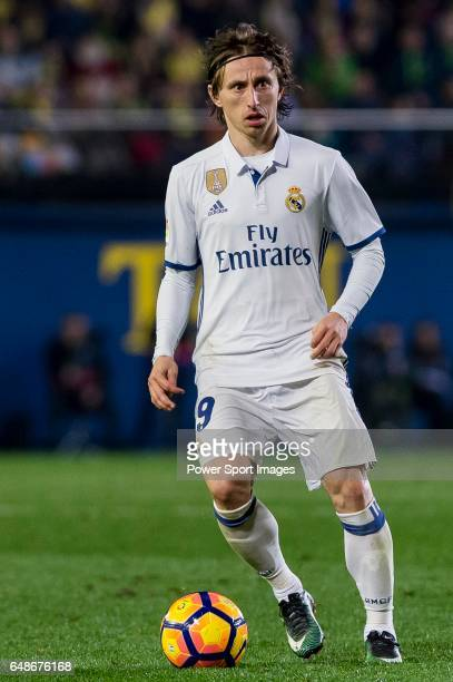 Luka Modric of Real Madrid in action during their La Liga match between Villarreal CF and Real Madrid at the Estadio de la Cerámica on 26 February...