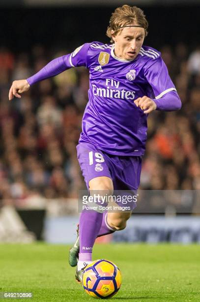 Luka Modric of Real Madrid in action during their La Liga match between Valencia CF and Real Madrid at the Estadio de Mestalla on 22 February 2017 in...
