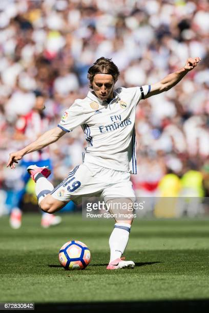 Luka Modric of Real Madrid in action during their La Liga match between Real Madrid and Atletico de Madrid at the Santiago Bernabeu Stadium on 08...