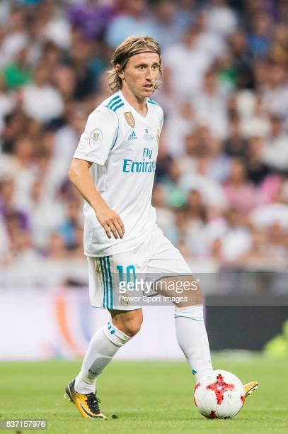 MADRID SPAIN AUGUST 16 Luka Modric of Real Madrid in action during their Supercopa de Espana Final 2nd Leg match between Real Madrid and FC Barcelona...