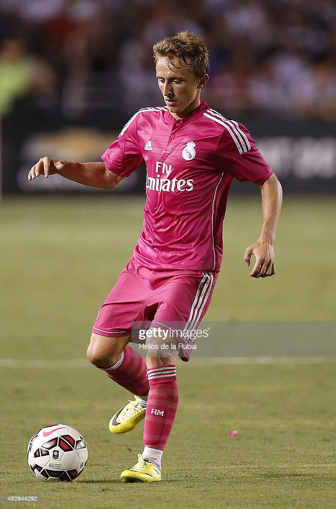 Luka Modric of Real Madrid in actions during the pre-season between Real Madrid and Roma at Guinness International Champions Cup 2014 game at Cotton Bowl on July 29, 2014 in Dallas, Texas.