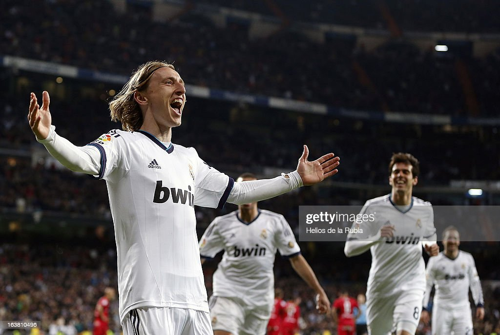 <a gi-track='captionPersonalityLinkClicked' href=/galleries/search?phrase=Luka+Modric&family=editorial&specificpeople=560350 ng-click='$event.stopPropagation()'>Luka Modric</a> of Real Madrid in celebrates after scoring during the La Liga match between Real Madrid and RCD Mallorca at Estadio Santiago Bernabeu on March 16, 2013 in Madrid, Spain.
