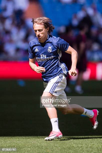 Luka Modric of Real Madrid in training prior to the La Liga match between Real Madrid and Atletico de Madrid at the Santiago Bernabeu Stadium on 08...
