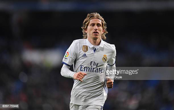 Luka Modric of Real Madrid looks on during the Copa del Rey Quarter Final First Leg match between Real Madrid CF and Celta Vigo at Bernabeu on...