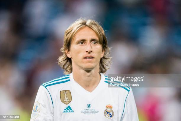 MADRID SPAIN AUGUST 16 Luka Modric of Real Madrid reacts after winning the Supercopa de Espana Final 2nd Leg match between Real Madrid and FC...