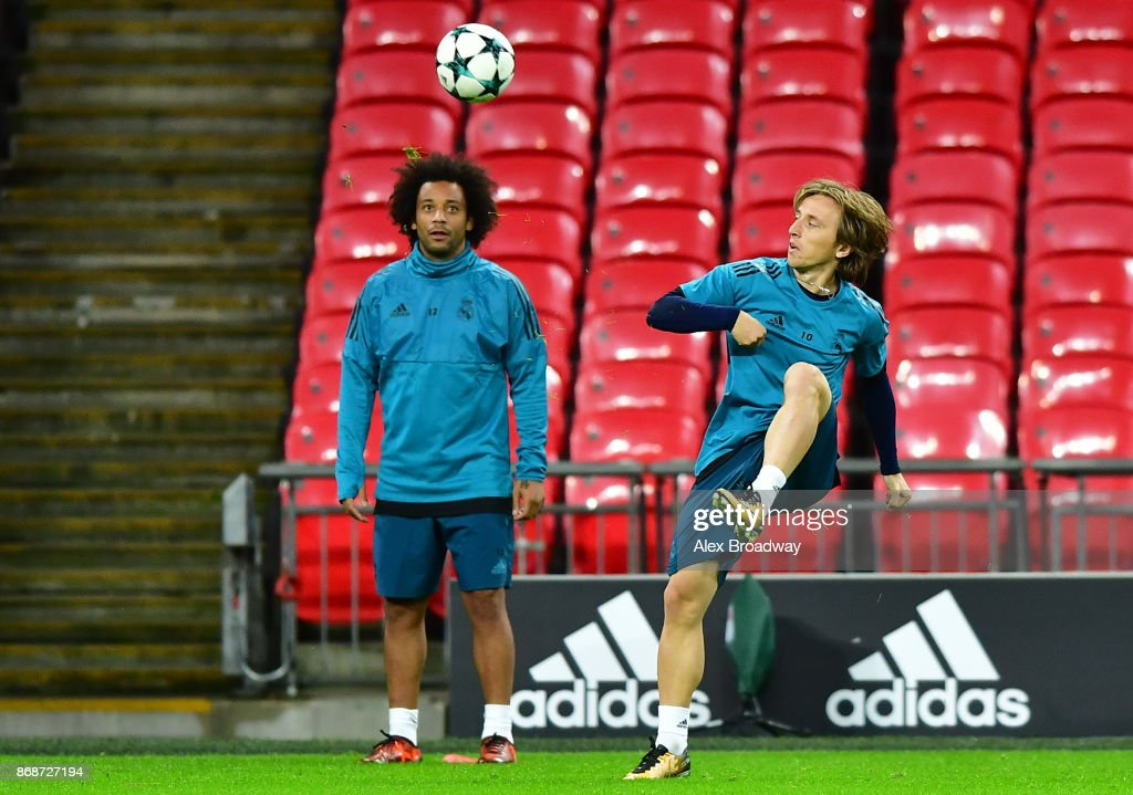 Luka Modric of Real Madrid reacts during a training session ahead of their UEFA Champions League Group H match against Tottenham Hotspur at Wembley Stadium on October 31, 2017 in London, England.