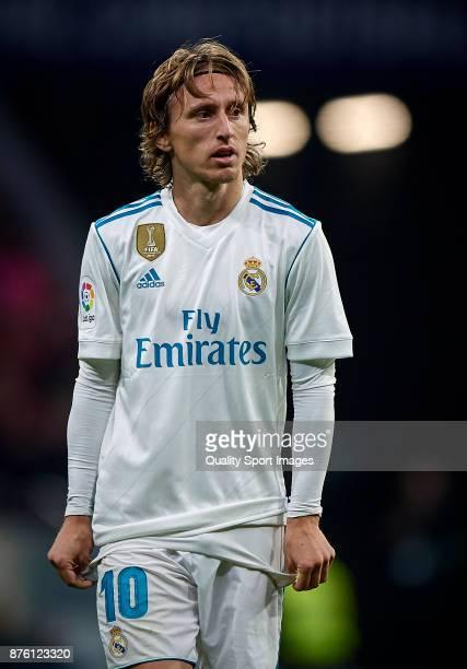 Luka Modric of Real Madrid reacts during the La Liga match between Atletico Madrid and Real Madrid at Wanda Metropolitano Stadium on November 18 2017...