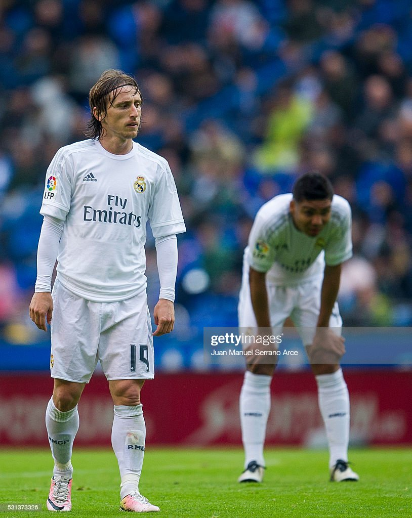 Luka Modric of Real Madrid reacts during the La Liga match between RC Deportivo La Coruna and Real Madrid CF at Riazor Stadium on May 14, 2016 in La Coruna, Spain.