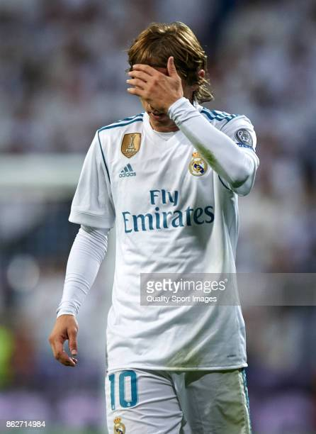 Luka Modric of Real Madrid reacts during the UEFA Champions League group H match between Real Madrid and Tottenham Hotspur at Estadio Santiago...