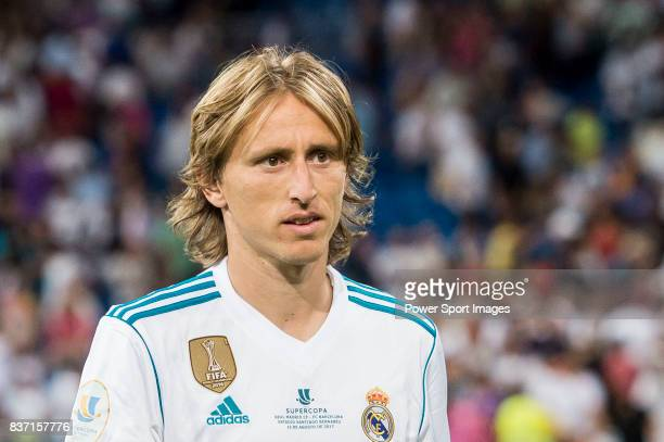 MADRID SPAIN AUGUST 16 Luka Modric of Real Madrid reacts during their Supercopa de Espana Final 2nd Leg match between Real Madrid and FC Barcelona at...