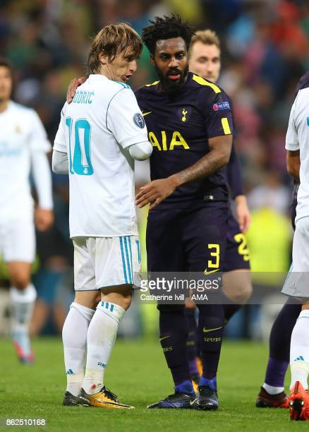 Luka Modric of Real Madrid talks to Danny Rose of Tottenham Hotspur during the UEFA Champions League group H match between Real Madrid and Tottenham...