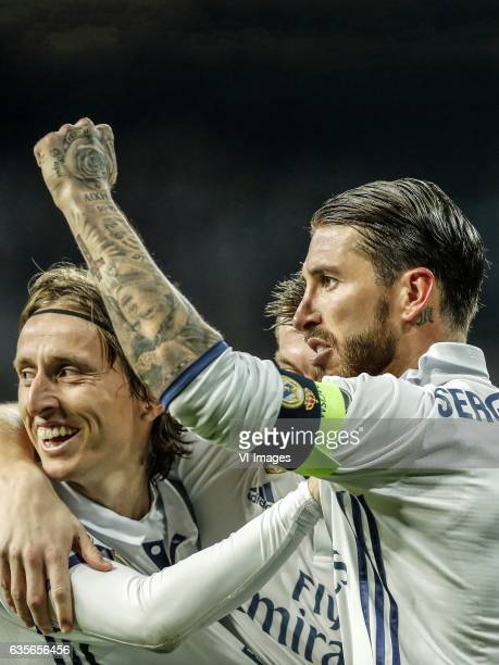 Luka Modric of Real Madrid Toni Kroos of Real Madrid Sergio Ramos of Real Madridduring the UEFA Champions League round of 16 match between Real...