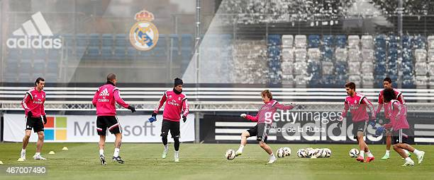 Luka Modric of Real Madrid warms up during a training session at Valdebebas training ground on March 20 2015 in Madrid Spain