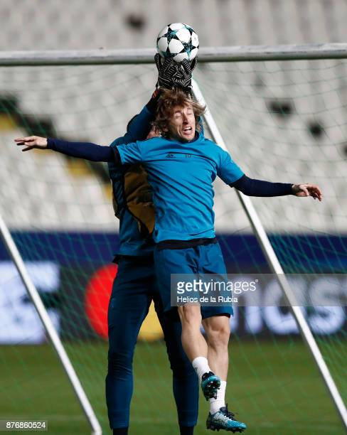 Luka Modric of Real Madrid warms up during the UEFA Champions League group H match between APOEL Nikosia and Real Madrid at GSP Stadium on November...