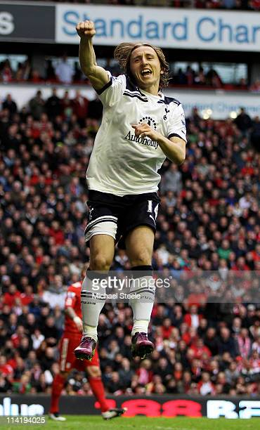 Luka Modric of Spurs cedlebrates after scoring his team's second goal from the penalty spot during the Barclays Premier League match between...