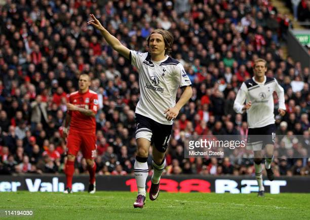 Luka Modric of Spurs celebrates after scoring his team's second goal from the penalty spot during the Barclays Premier League match between Liverpool...