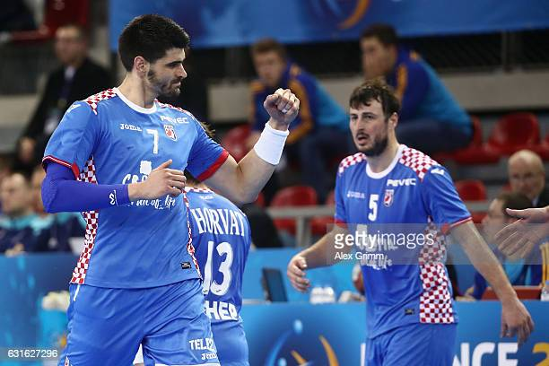 Luka Stepancic of Croatia celebrates a goal during the 25th IHF Men's World Championship 2017 match between Croatia and Saudi Arabia at Kindarena on...