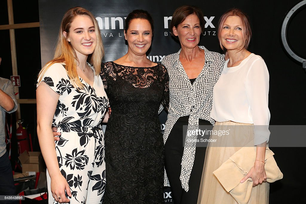 Luka Teresa-Gerda Kloser, Desirée Nosbusch, designer Eva Lutz and <a gi-track='captionPersonalityLinkClicked' href=/galleries/search?phrase=Ursula+Karven&family=editorial&specificpeople=2093658 ng-click='$event.stopPropagation()'>Ursula Karven</a> attend the Minx by Eva Lutz show during the Mercedes-Benz Fashion Week Berlin Spring/Summer 2017 at Erika Hess Eisstadion on June 29, 2016 in Berlin, Germany.